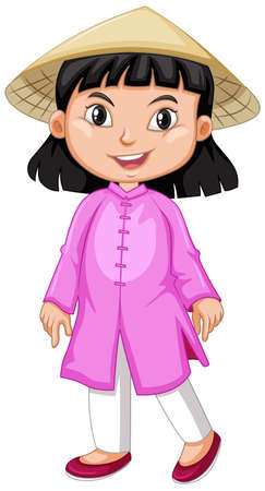 Vietnamese girl in pink outfit illustration