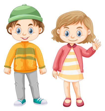 Cute girl and boy in winter clothes illustration
