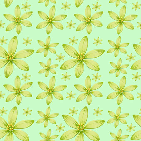 flower layout: Seamless background with green flowers illustration