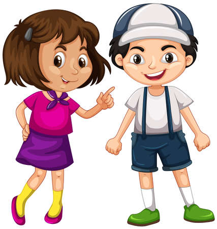 young boy smiling: Happy boy and girl  illustration