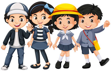 girl: Asian kids with happy face illustration