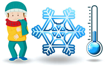 Winter theme with man in winter clothes  illustration