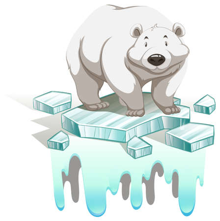 Polar bear on iceberg illustration Illustration
