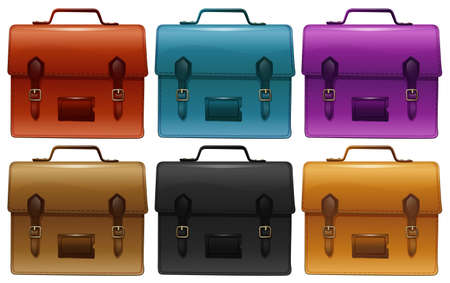 belongings: Suitcases in six different colors illustration Illustration