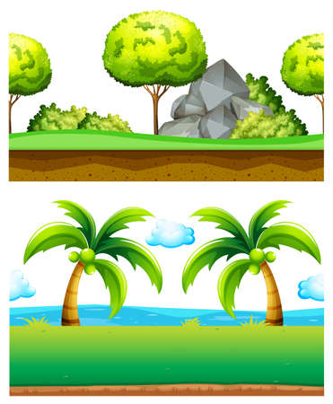 tree isolated: Two scenes of green garden illustration