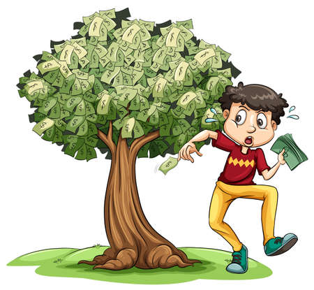 Man holding money and money tree in background illustration Illustration