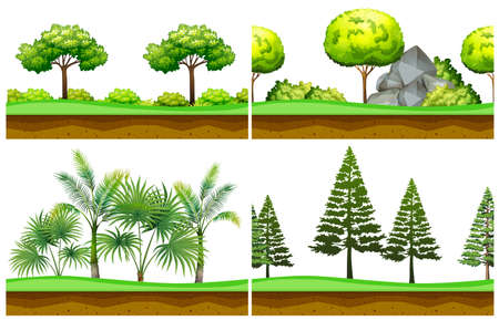 Seamless background with scenes in the park illustration
