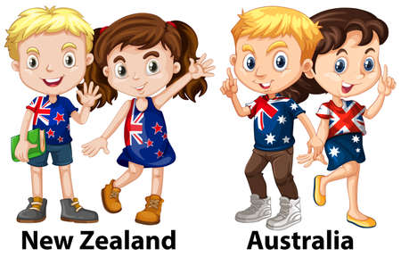 wave: Kids from New Zealand and Australia illustration Illustration