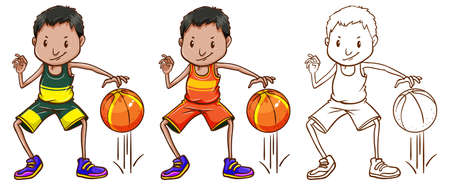 Doodle character for basketball player illustration