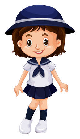 traditional culture: Young kid in school uniform illustration Illustration