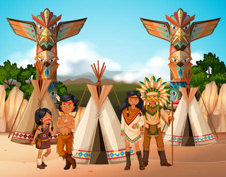 Native american indians at camp site illustration