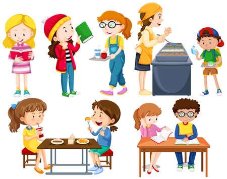 Students doing different activities illustration Illustration
