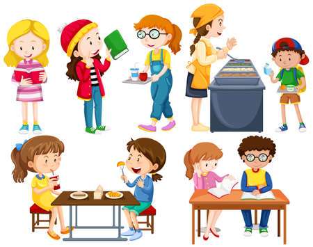 Students doing different activities illustration Vettoriali