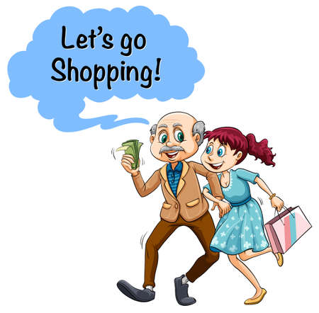 happy shopper: Old man with money and young girl illustration