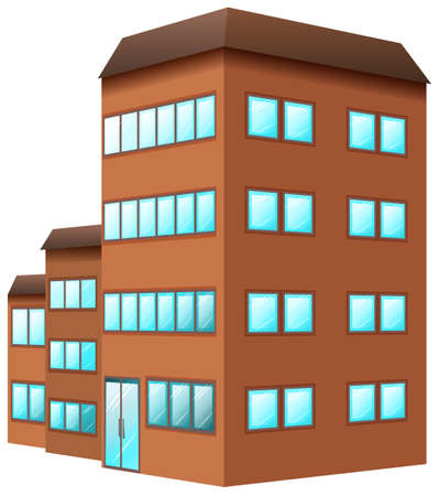 building color: Building painted in brown color illustration