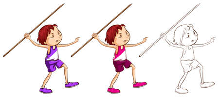 Doodle character for man doing javelin illustration
