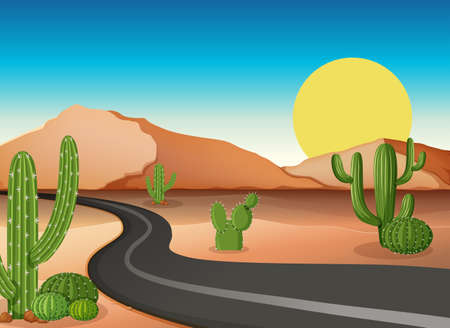 tropical: Desert ground with empty road illustration Illustration