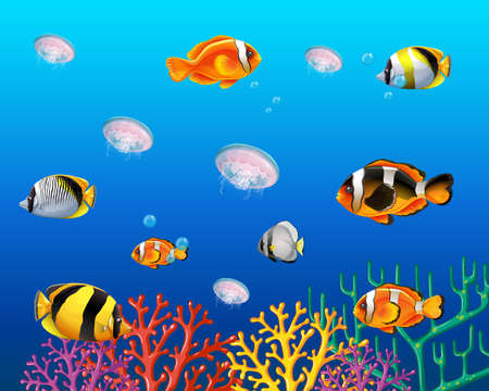 Underwater scene with fish swimming illustration Illustration