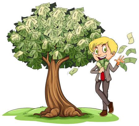 cash: Rich man with money on tree illustration Illustration