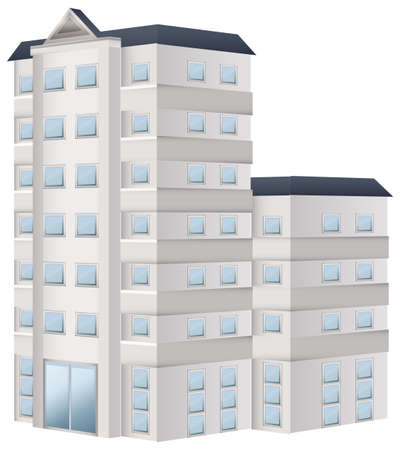 real estate house: Tall building painted in white illustration