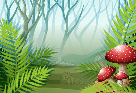 Forest scene with fog on the grass illustration