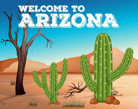 Cactus plants in Arizona state illustration