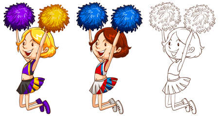 Doodle character for cute cheerleader illustration Illustration