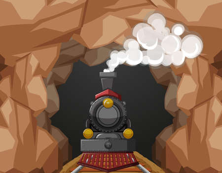 vehicle track: Train ride through the cave illustration Illustration