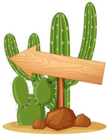 green environment: Wooden sign on cactus plant illustration Illustration