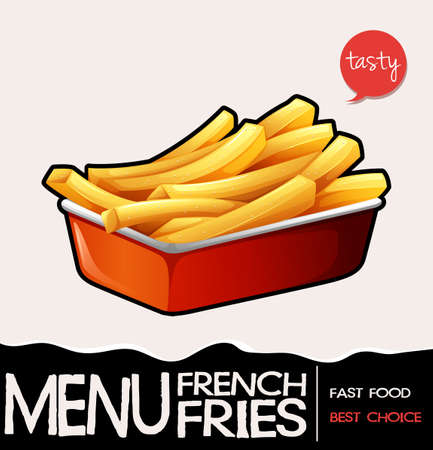 Frenchfries in red tray illustration