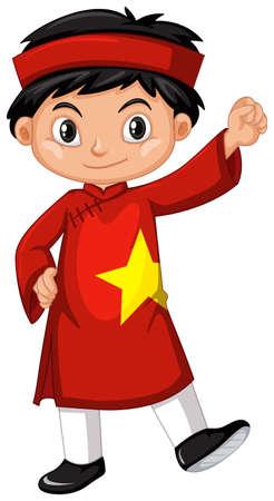 Ragazzo del Vietnam nell'illustrazione rossa del costume Vettoriali