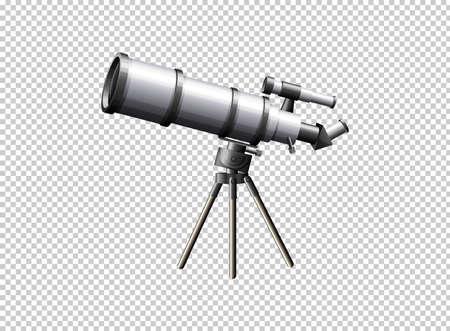 Modern telescope on transparent background illustration