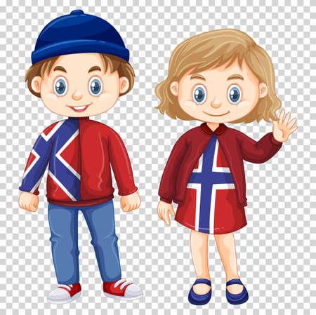 norway flag: Boy and girl wearing Norway shirt design illustration Illustration