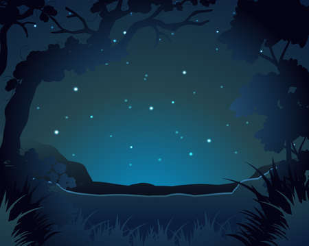 tropical: Forest scene at night illustration