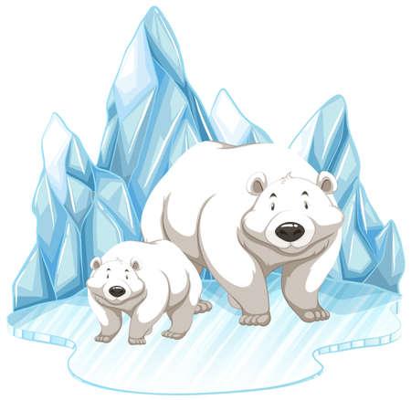 Twee ijsberen op ijsberg illustratie Stock Illustratie