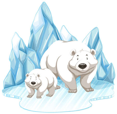Two polar bears on iceberg illustration