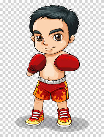 Boxer in red shorts and gloves illustration