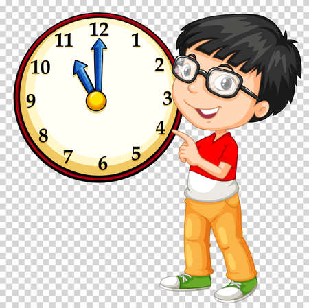 Boy looking at clock on transparent background illustration Illustration