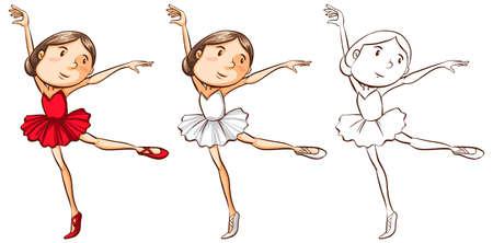 Doodle character for girl doing ballet illustration