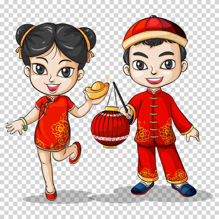 asian student: Chinese boy and girl in traditional costume illustration