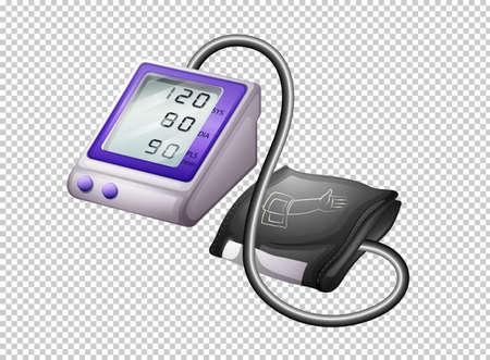 Digital blood pressure monitor on transparent background illustration Vector Illustration