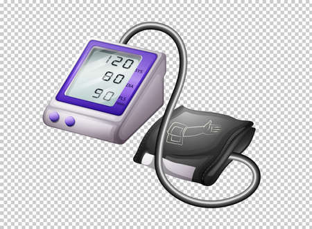 Digitale bloeddrukmonitor op transparante illustratie als achtergrond Vector Illustratie