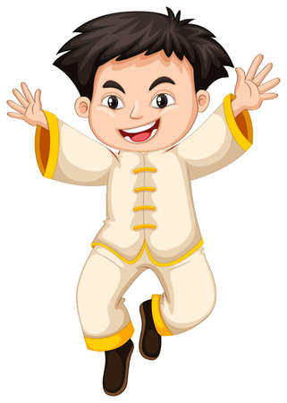 Chinese boy in white costume illustration