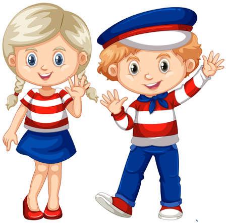 wave hello: Boy and girl waving hello illustration