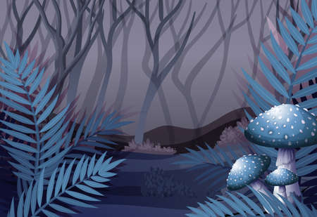 green environment: Forest scene at night time illustration