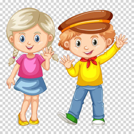 pals: Happy boy and girl waving illustration