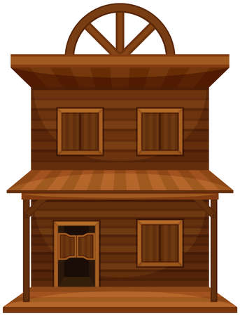 real estate house: Wild west building made of wood illustration Illustration