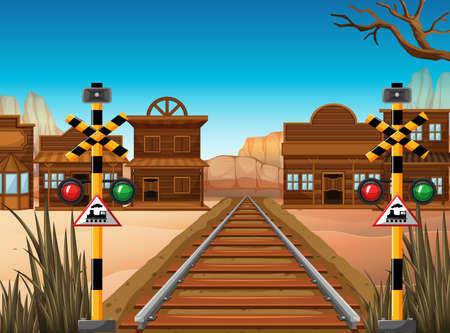 vehicle track: Railroad scene in the western town illustration