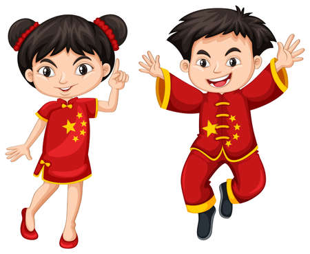 adolescent boy: Chinese boy and girl in red costume illustration
