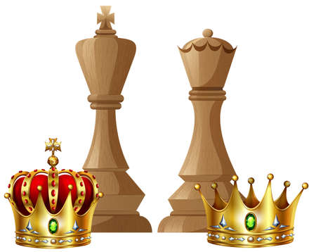 royals: King and queen pieces of chess game illustration Illustration